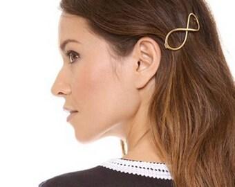 Gold infinity hair clip, Metal Clip, Minimalist Hair Clip, Minimalist Hair Accessory, Geometric Hair Clip, Hair Barrette, Stylish Hair Clip