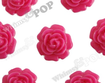 10 - Fuchsia Hot Pink Ranunculus Rose Small Flower Cabochons, Flower Cabs, Resin Flower Flatback Cabochons, 11mm (R5-074)