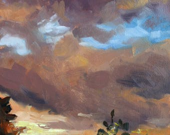"small oil painting, ""Sunset clouds"", 5x7 inch, 12.7x17.8 cm oil on panel"