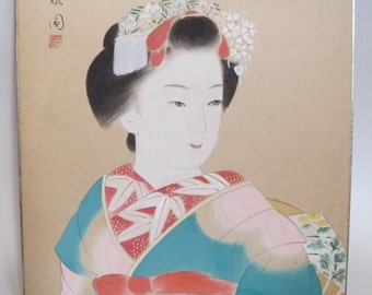 Vintage Japanese Geisha Art Drawing Soft Pastel Or Gouache Gongbi Asian Lady Portrait