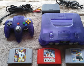 Nintendo 64 Funtastic Grape Console with Games Bundle N64 *Cleaned & Tested*