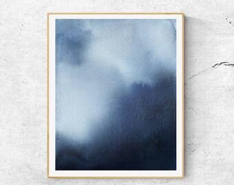 Indigo Blue Art Print, Abstract Watercolor Art, Abstract Art Print, Indigo Watercolor Print, Modern Blue Wall Art, Modern Watercolor Print,