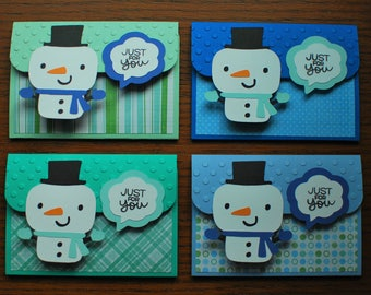 Christmas Gift Card Holders - Pop-up Gift Card Holders - Snowman Holiday Gift Card Holders - Shades of Blue and Green