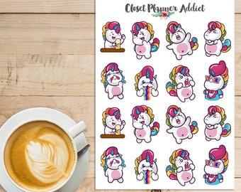 Drôle de licornes Planner Stickers | Licornes mignons | Autocollants licornes | Licornes colorées | Licornes arc en ciel (S-300)