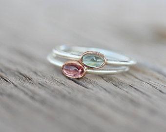 Tiny Tourmaline 14K Rose Gold Silver Ring Pink or Blue-Green Bi-Color Gemstone Brazil Watermelon Stackable Band Cute Colorful Boho - Tsamma