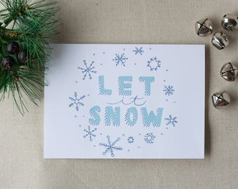Holiday Card Let It Snow Instant Download, Cute Christmas Card, Greeting Card, Seasons Greetings, Snow, White Christmas, Digital Download