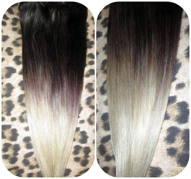 Ombre Balayage Human Invisible Hair Extensions Flip In Wire
