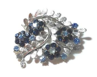 Vintage Coro Blue Floral Rhinestone Pin