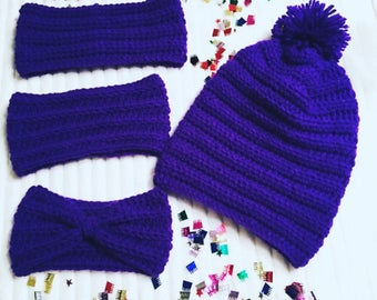 Kid's Purple Crochet Beanies, Kids And Adult Size Crochet Beanies, Crochet Beanies, Beanies For Kids And Adults, Slouch Crochet Beanies