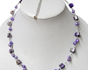 Necklace ladies purple Pearl mother of Pearl shell fragments ca. 42-48 cm carbine nickel free (KK-226)