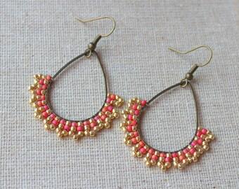 Handmade Pendant earrings Red/gold