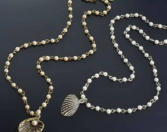 Seashells and Pearls Necklace, Seashell Necklace, Pearl Necklace, Seashell Jewelry, Pearl Jewelry, Ocean Jewelry, Beach Necklace N1546