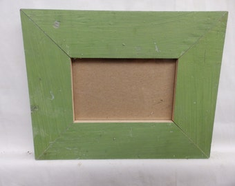 SHABBY ARCHITECTURAL Chic Salvaged 4 X 6 Wood Green Picture Frame Vintage 2457-15