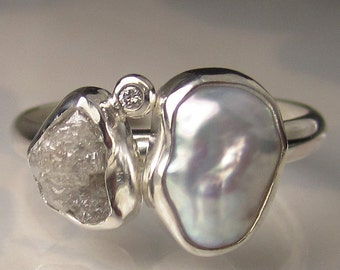 Baroque Pearl and Rough Diamond Ring - Recycled Sterling Silver Engagement Ring - Made to Order
