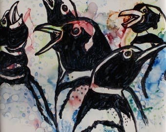 AFRICAN PENGUINS - 6 x 6 inch Original Alcohol Ink Painting on White Tile