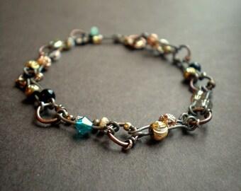 Mixed Metal Bracelet / Rustic Bracelet / Industrial Style / Boho Woman / Weathered Look / Double Strand / Gift Bestie / Summer Jewelry