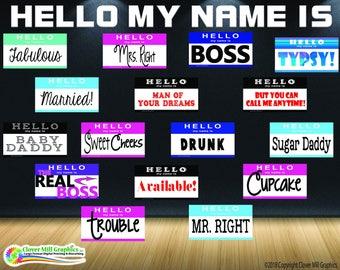 Hello Name Tag Props