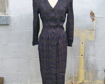 Nancy Johnson PAISLEY DRESS Size 8 Blue Purple Gold Button Front Long Sleeve 1990's Grunge Retro 70's Look