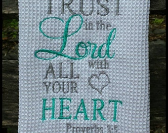 Embroidered Kitchen Towel, Kitchen Towels, Embroidered Towel, Housewarming Gift, Wedding Gift, Wedding Present, Coffee and Jesus, Dish Towel