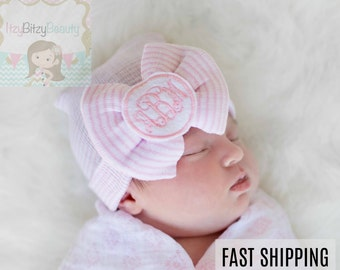 Newborn Girls Hospital Hat - Fancy Monogram Hat - Girl Monogrammed Hat - Large Bow Hat - Coming Home Hat - Baby Shower Gift - Pink And White