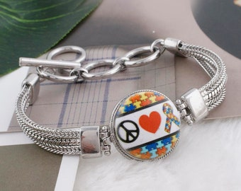 Peace Love Autism - Autism Snap - Compatible with Gingersnaps - - Ginger Snaps -  Magnolia and Vine - Noosa 18-20mm Base - Enamel Snap