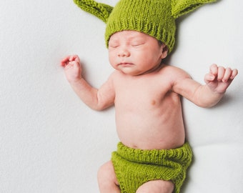 Yoda Baby Hat and Diaper Cover Set