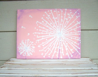 Dandelion Painting -Acrylic Painting-8x10-Rustic Nursery Painting-Shabby Chic Nursery Wall Decor-Distressed Painting-Baby Pink -Lavender