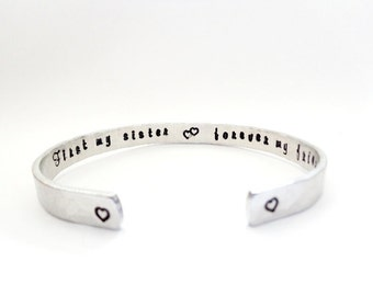 Sisters Gift | Gift Ideas | Sisters Jewelry | First my sister, forever my friend, Custom Engraved Bracelet By Timeless Maiden