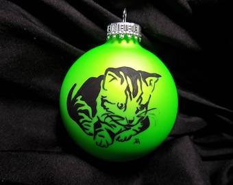 striped kitten, cat ornament, pet ,hand painted, personalized Christmas ornament, cat Christmas ornament, kitten ornament,pet ornament