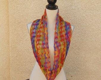 Multicolored crocheted Snood: orange, blue, green and purple
