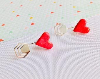 Ear Jackets. Heart Earrings. Front to Back Earrings. Silver Ear Jackets. Minimalist. Funky. Quirky. 80s. Kitsch. Minimalist. Funky Jackets.