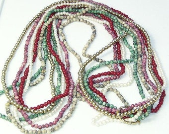Vintage Multi Color 6 Strand Glass Bead 1970s NECKLACE Costume Jewelry Gift For Her on Etsy