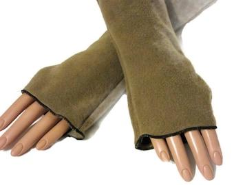 Arm Warmers, Fingerless Gloves Camel Fleece Wrist Hand Warmers, Gift For Her, Handmade Harry Potter, Halloween Christmas Gift Women Hanukkah