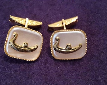 Vintage Damascene Venetian Gondola Cuff Links