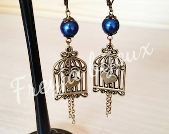 Bronze birdcage pendant and Pearl night blue glass beads earrings