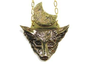 Coyote Moon Necklace - Luna Lunar Crescent Fox Wolf Dog Gold Brass Canine Pup Cub Eclipse Woman Witch Dark Nocturnal Magic Animal Fierce