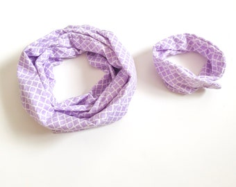 Purple & White quatrefoil- Mommy and Me Scarves - matching scarves - flannel scarf - purple scarf  - Mother's Day gift - gift for mom