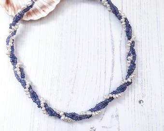 Tanzanite Necklace, Freshwater Pearl Necklace, Blue Gemstone Necklace, Necklaces For Her, Pearl Anniversary Gift, Birthstone Necklace