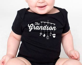the grandson shirt or onesie with mobile toys (script style)  |  great gift for grandson!