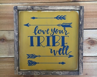 "Love Your Tribe Well - Framed Wood Sign Wall Art  - 13.5"" x 13.5"" - Mustard and Navy"