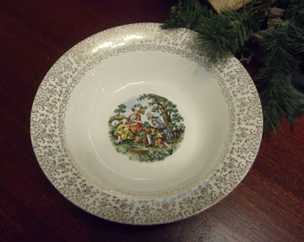 "Cronin China Co. Colonial Couple Vegeatble Bowl, 9 1/2"" Diameter,  National Brotherhood Operative Potters  (T)"