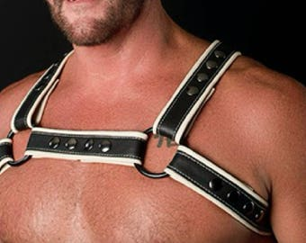Black and White Leather Harness