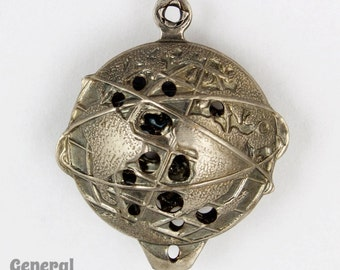 20mm Antique Silver Earth Charm (2 Pcs) #5468
