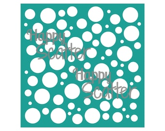 """Bubbles Circles Stencil, Scattered Circles 6x6"""" Stencil, Random Pattern Stencil, 6x6 Stencil, Mixed Media Stencil, Scrapbooking, Cardmaking"""