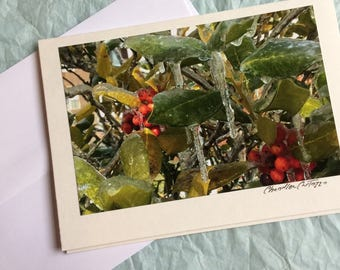 Winter Wonderland / Tender Tennessee Christmas / Christmas Card / Holly Leaves with Icicles / Blank Notecard with Envelope