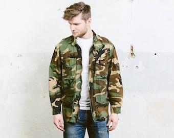 Men's Camo Jacket . Vintage 90s Khaki Green Military Camouflage Green Coat Army Surplus 1990s Hunter Jacket . size Large L