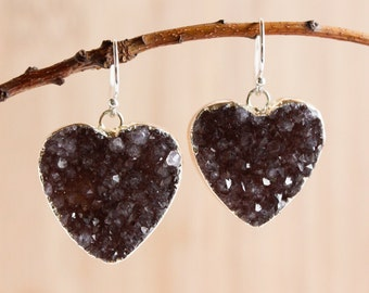 50% OFF SALE - Shades of Brown Agate Druzy Heart Earrings - Choose Your Stone - Dangle Earrings, Silver or Gold