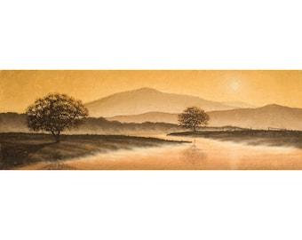 Sunrise Landscape 3. Oil painting of a misty morning river