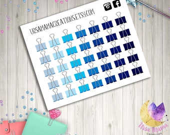 Blue Binder Clip Stickers