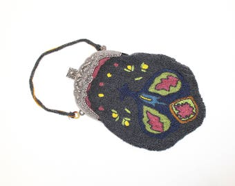 Vintage 1920s heavily beaded beadwork handbag evening bag grey blue with Rococo style metal frame unlined